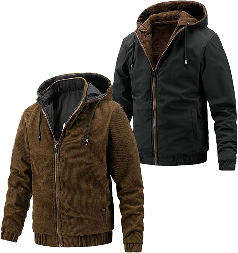 Huangse Mens Jacket On Both Sides Casual Autumn&Winter Hooded Jacket with Pockets Full Zipper Slim Coats Hooded Blouse