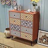 Festnight Aparador de Salón Cómoda con 8 Cajones Materia de MDF + Metal Mueble Auxiliar Color Marrón 68,5 x 30 x 80 cm