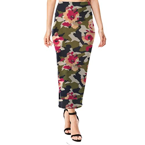 63978094f15 Women s Midi Long Pencil Straight Skirt Solid   Floral Maxi Casual