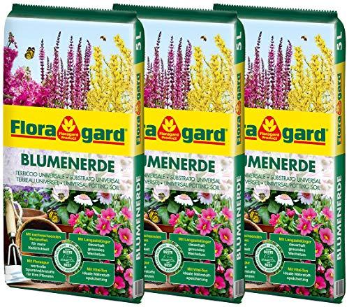 Floragard Blumenerde 3x5 L - für Balkon-, Kübel- und Zimmerpflanzen - mit Langzeitdünger - 15 Liter