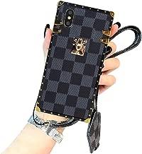 iPhone 7 Plus iPhone 8 Plus Case, Vintage Elegant Luxury Designer Lattice PU Leather Back with Lanyard Soft Full Protection Trunk Case for iPhone 7 Plus iPhone 8 Plus, Black