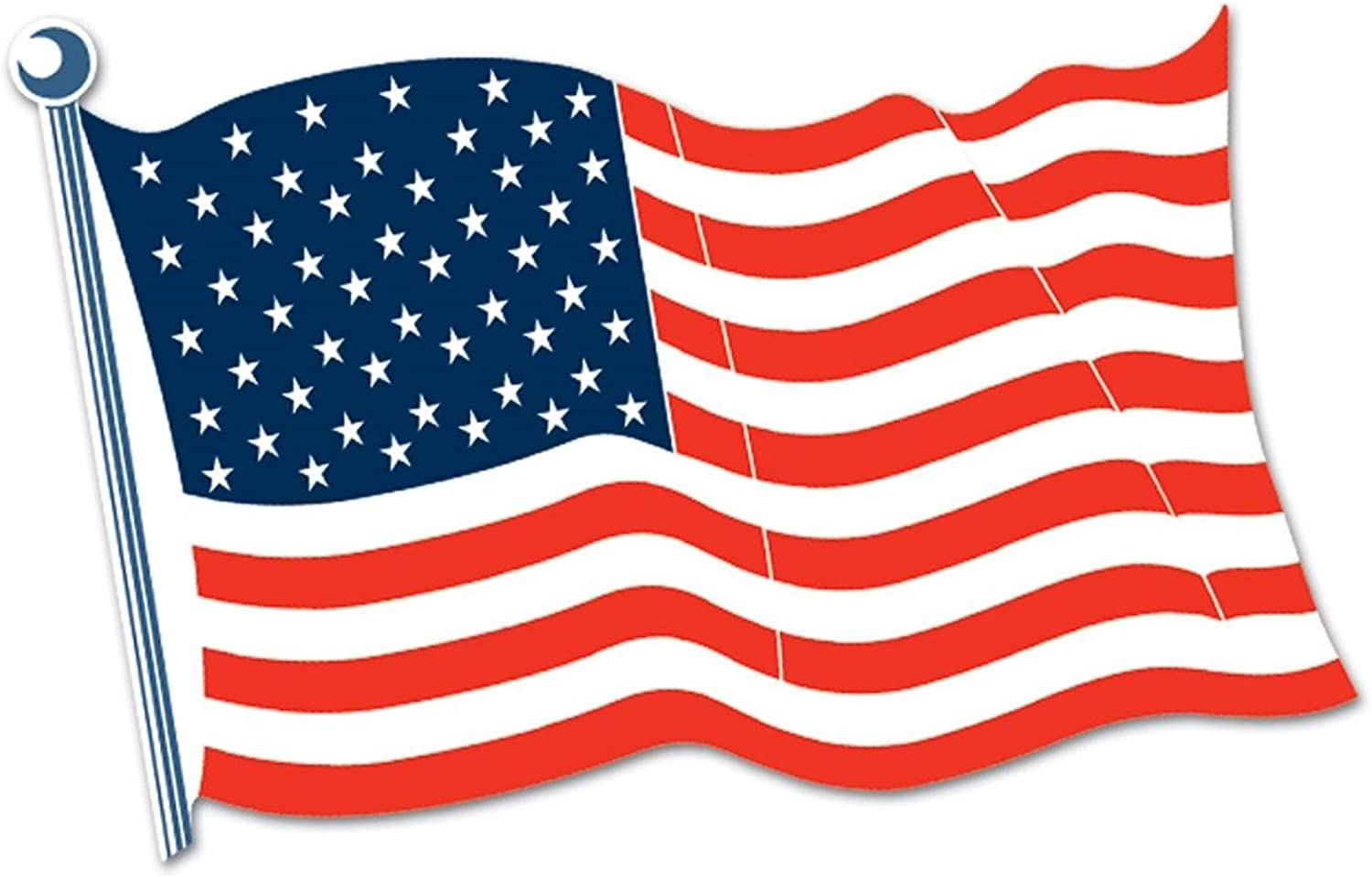 Club Pack of 24 Patriotic Red, White and bluee American Flag Cutout Decorations 24