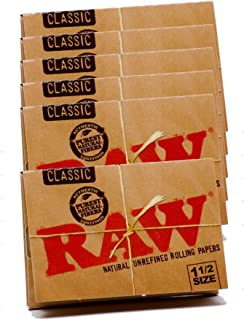 RAW Classic Natural Unrefined Rolling Papers 79mm 1 1/2 Size Pack (6 Packs)