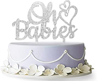 Oh Babies Cake Topper, Twins Cake Topper, Oh Baby Cake Topper, Twins Baby Shower Decor, Twin Birthday Cake Topper (Silver)
