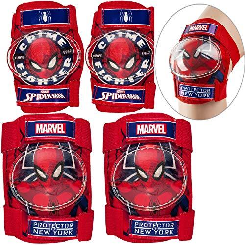 alles-meine.de GmbH 4 TLG. Set - Knieschoner + Ellenbogenschützer - Spider-Man - für Circa 4 bis 12 Jahre - Kinder - Schutzausrüstung - Gelenkschützer Knieschützer / Protektor - ..