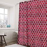Duschvorhang aus Stoff, geometrisches Muster, Badvorhang, wasserabweisend, Hotelqualität, 183 x 183 cm, Rot & Weinrot