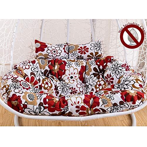 Papasan-hangmat met groot kussen, dubbele oscillatie, katoenen linnen, zacht en comfortabel, hangstoel met ergonomisch kussen.