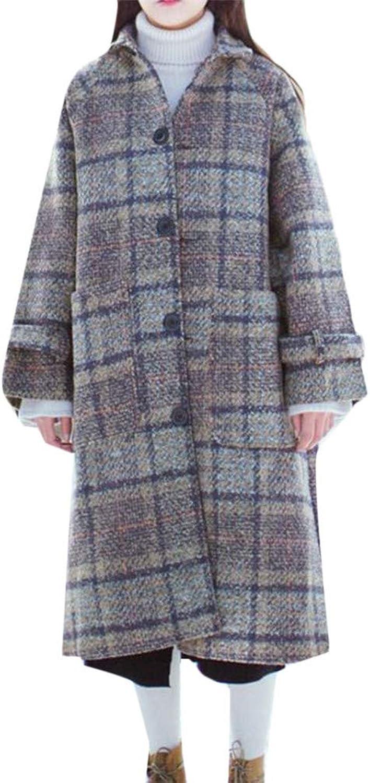 Blyent Women's Lapel Neck Single Breasted Plaid Warm Oversize Overcoat Pea Coat Jacket