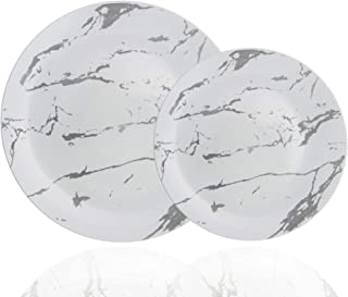 Trendables 60 Pack Disposable Dinnerware Combo - Marble Design Plastic Plates Set Includes: 30 10.25 in. Large Dinner Plates & 30 8