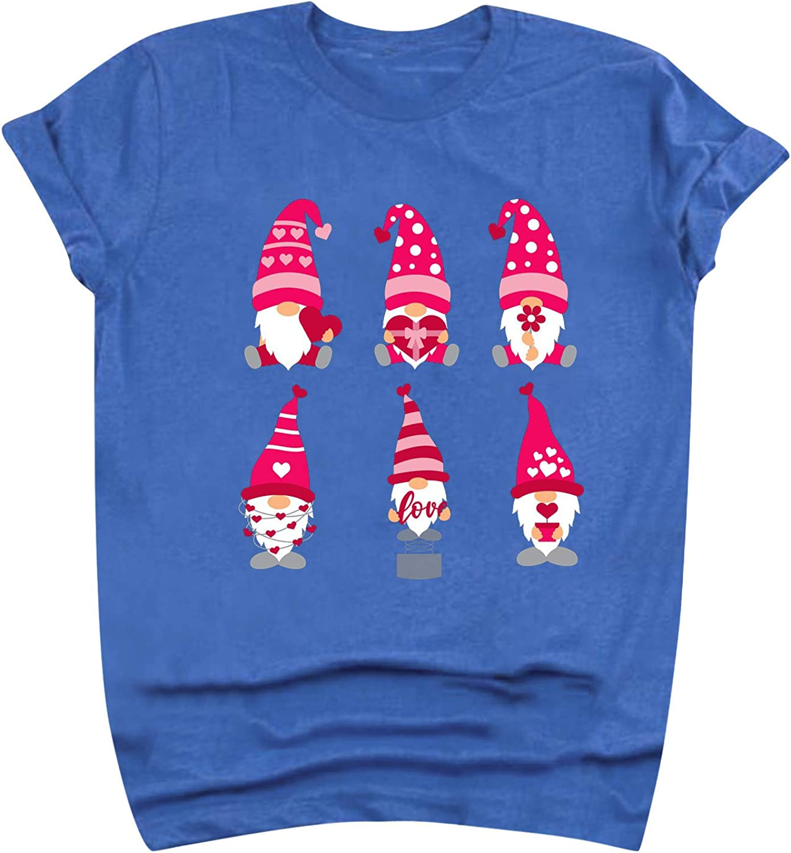 vcsheh Valentine's Day Shirts for Women Funny Cartoons Graphic T-Shirt Pink Heart Print Short Sleeve Tee Tops Tunics