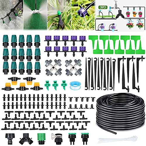 Garden Irrigation System, 132ft/40m 163PCS Micro Drip Irrigation Kit (30pcs Adjustable Nozzle), Drip Irrigation with 1/4' Blank Distribution Tubing for Greenhouse Lawn Flower Bed Patio