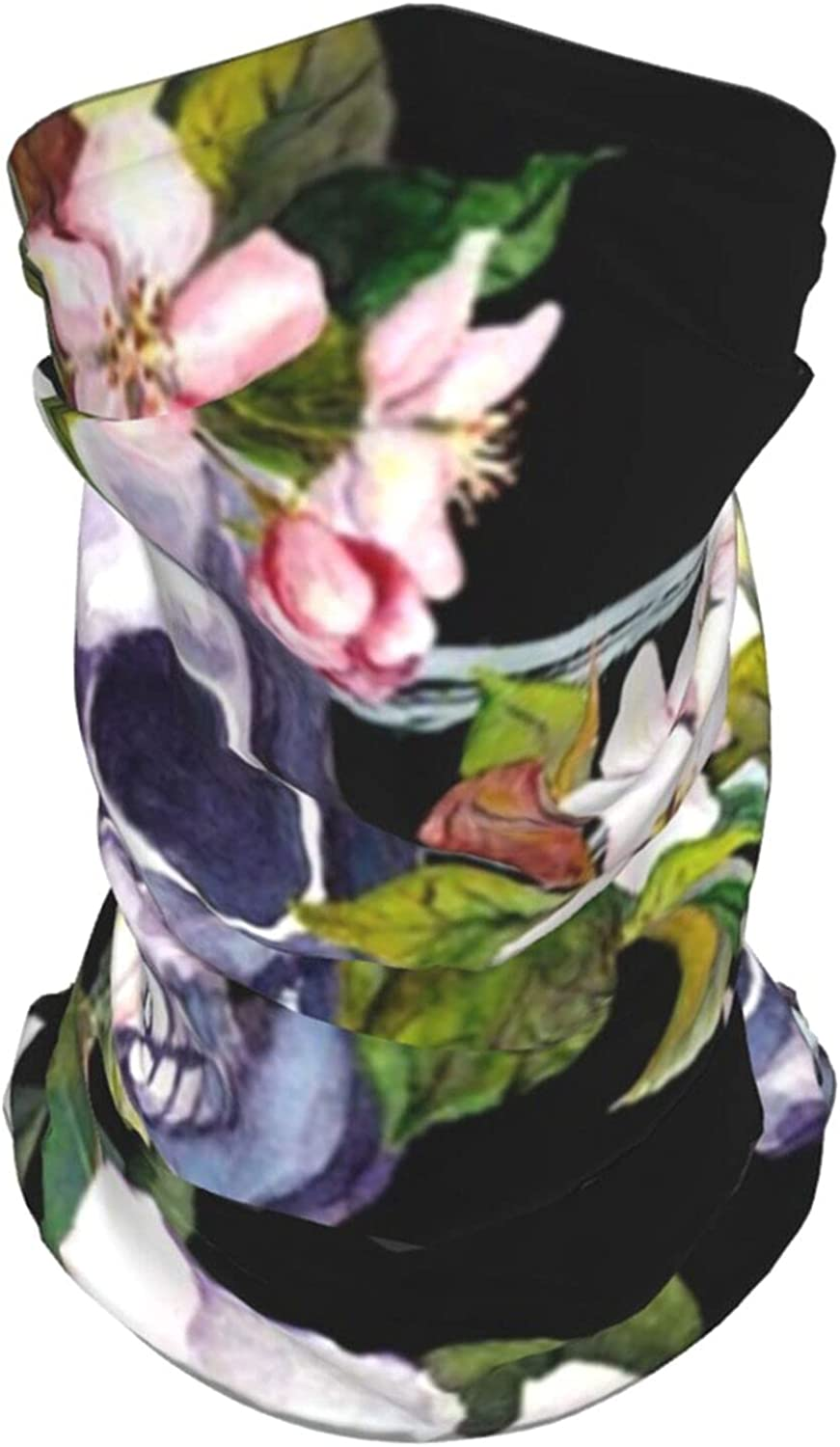 Human Skulls White Flowers Halloween Day Beauty Art Holidays Summer Ice Silk Breathable Face Mask Neck Gaiter Scarf Bandanas for Fishing,Hiking,Running,Motorcycle and Daily Wear