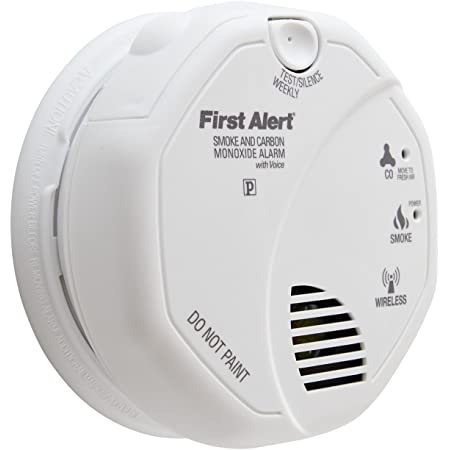First Alert OLCOMBOVFF SCO500B OLCOMBOV Wireless Interconnect Smoke and Carbon Monoxide Combo Alarm w/Voice & Location, Frust Free, 1 pack
