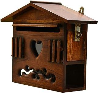 郵便受け・メールボックス 木製 メールボックス ポストボックス 新聞ホルダー付き 壁取り付けまたは自立 ミニレターボックス、 ヴィンテージハウスデザイン