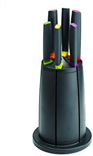 Joseph Joseph Elevate Stainless Steel Non-Stick Set with Rotating Knife Block, 7-Piece, Black (Discontinued)