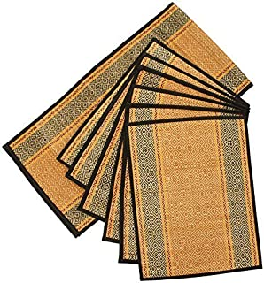SouvNear Weekend Sale Set of 6 Woven Placemats and a Table Runner for Dining/Kitchen - Natural Placemat Set Handmade with Orange, Black Darbha Grass Straws & Threads