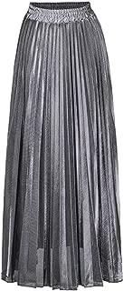 Womens Skirt Solid Pleated Elegant A-Line Midi Skirts Elastic Waist Accordion Maxi Skirt Spring and Summer Party Skirt Golden Beach Skirt