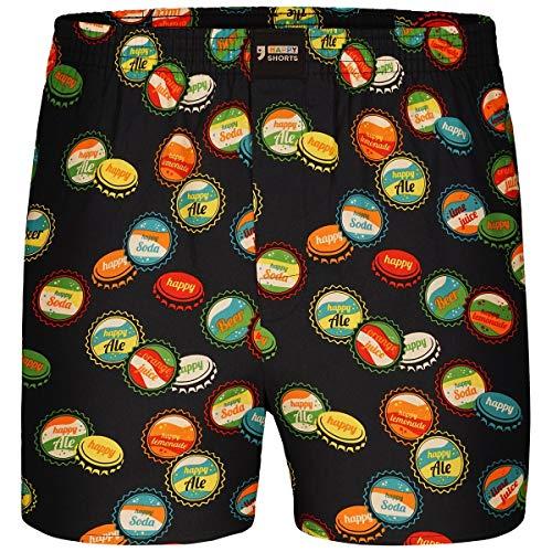Happy Shorts Boxershorts Herren/Web-Boxer mit Jersey-Inlay – Modell: Bottlecaps XL