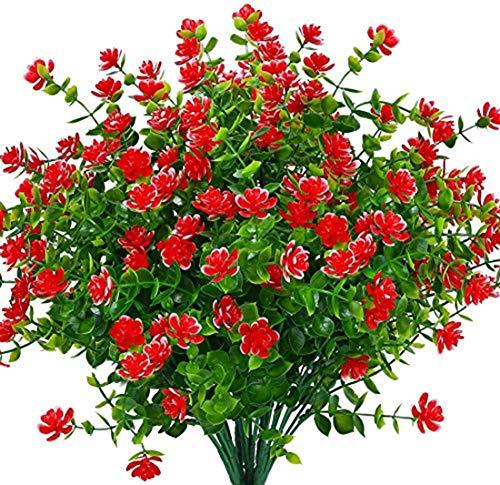 Ruiuzi Kunstmatige Nep Bloemen, 4Pack Outdoor UV Bestand Groene Struiken Planten Indoor Buiten Opknoping Planter Thuis…