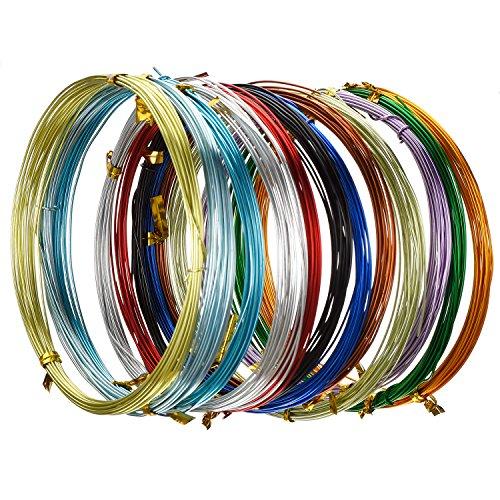 Hestya 12 Rollos de Alambre de Aluminio Multicolor para Manualidades, Alambres de Metal Flexible para Fabricación de Bisutería y Manualidades Varias, Cada Rollo 16,4 Pies (20 Gauge)