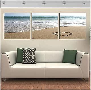 Lienzo decorativo para pared con 3 paneles de impresión fotográfica sobre lienzo en la playa con piedra en forma de corazón de 60 x 60 cm (sin marco).