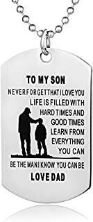 FAYERXL Father Son Dog Tags Boys Necklace for Kids Military Mens Jewelry Custom Pendant Dad to Son Love Gift…