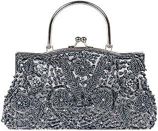 IRVING Women Beaded Sequin Design Clutch Handbag Shoulder Bag Purse (Color : Gray)