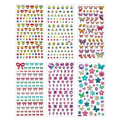 Hifot 3D Pegatinas Infantiles, Lentejuelas Corazón Estrella Joya Mariposa Calcomanías Bowknot Puffy Stickers, Scrapbooking Libro Materiales Diario Calendario Pegatinas Decorativas Niña Chico