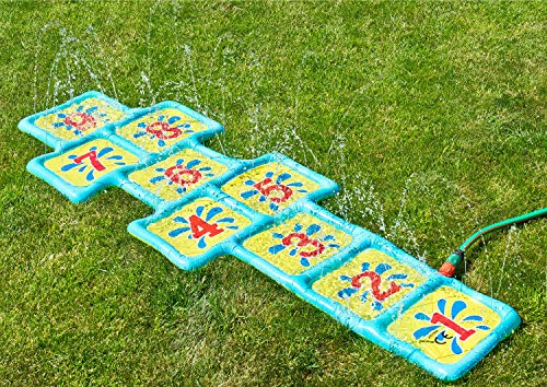 Shopping Hero Wasserspielmatte Wasserspielzeug Hüpfspiel , Himmel & Hölle Spiel für den Garten 178x59cm