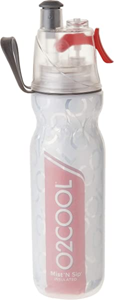 O2COOL ArcticSqueeze Insulated Mist N Sip Squeeze Sports Water Bottle 20 Oz Red