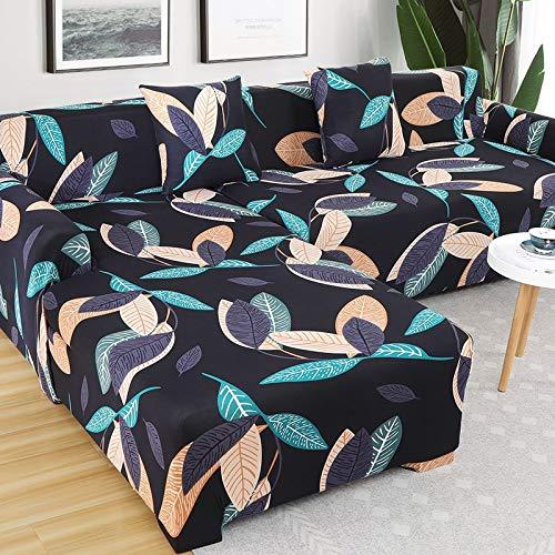 WXQY Funda Protectora de sofá de combinación para Sala de Estar Funda Protectora de sofá elástica de Esquina en Forma de L Funda de sofá de patrón geométrico A8 2 plazas