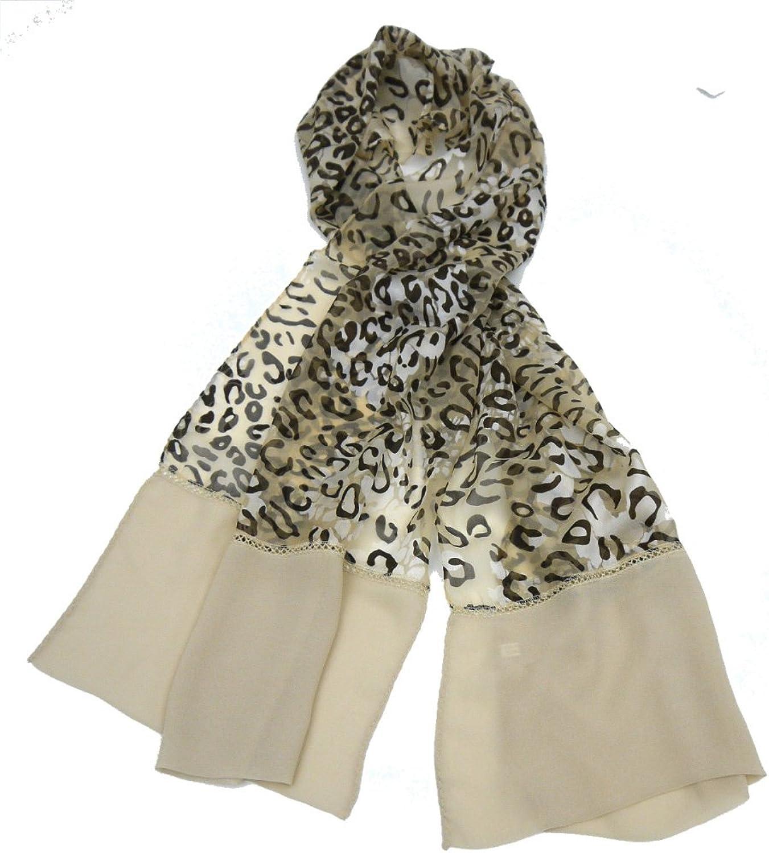 100% Silk Leopard Print Scarf 64'' X 20''