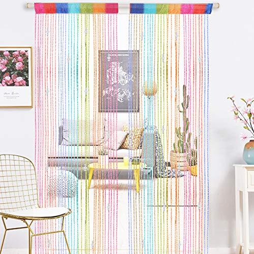 AIFENTE Cortinas de puerta con cuentas de rocío con cuentas de gota de rocío, cortina de división de borlas, cortinas de 90 x 200 cm cortina divisora con borla cortina de cristal para ventana 1 pieza
