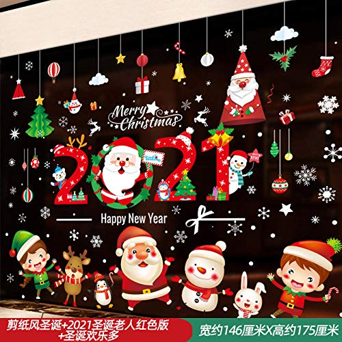Adornos navideños Etiquetas engomadas del árbol de Papá Noel Calcomanía de vidrio...