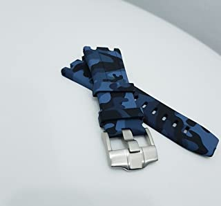 28/29mm Blue Camouflage Rubber Watch Strap Band with Buckle For 42mm AP Divers