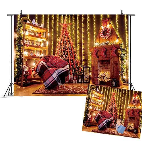 WQYRLJ 3D achtergronden fotografie, lichtkerstboom open haard krans cadeau decoratie achtergrond, voor pasgeborenen baby portret party YouTube foto studi fotoautomaat rekwisieten