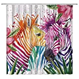 Colorful Zebra Shower Curtain Funny Watercolor Rainbow Stripe Animal Palm Leaves Rustic Wooden Plank Abstract Creative Fabric Bathroom Decor with Hooks