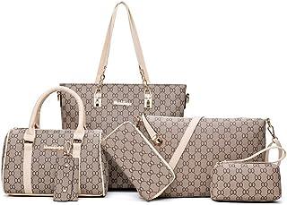 be85b8bce Cuero Bolsos Bandolera 6 Pcs Set Bolsos Mujer Vintage Bolso de Mano Viaje  Piel Bolsa Beige