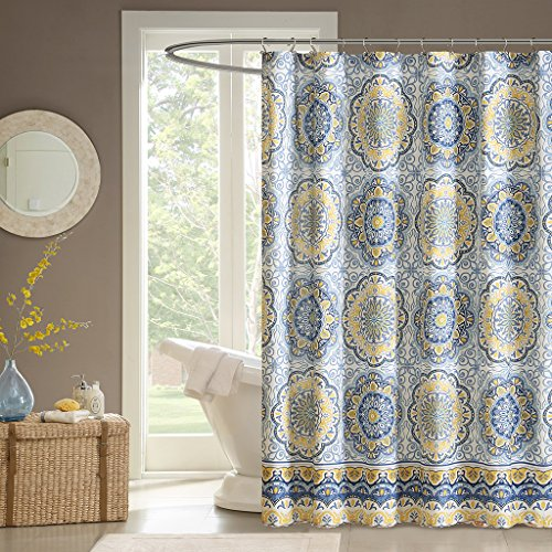 Madison Park Shower Curtain, Luxurious Traditional Damask Print Classic Design Bathroom Decor, Machine Washable, Fabric Privacy Screen, 72x72, Blue/Yellow
