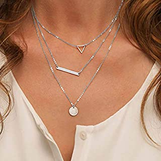 Fstrend Fashion Layered Necklace Dainty Symbol Pendant Choker Necklace Jewelry for Women and Girls (Silver)