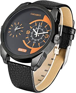 Fashion Watches 6813 Fashionable Dual Clock Quartz Business Wrist Watch with Leather Band for Men
