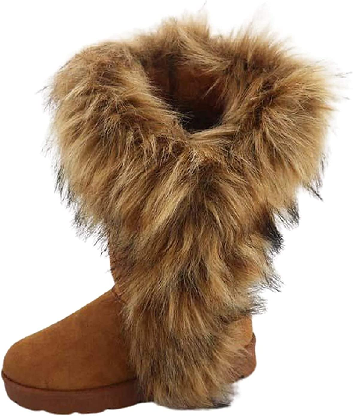 Pazzle Ada Stylish Womens Snow Boots Mid Calf Ankle Boots Faux Fur Tassel Shoes