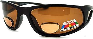 Mens Wrap Around Sport Sunglasses Polarized Plus Bifocal Reading Lens Black