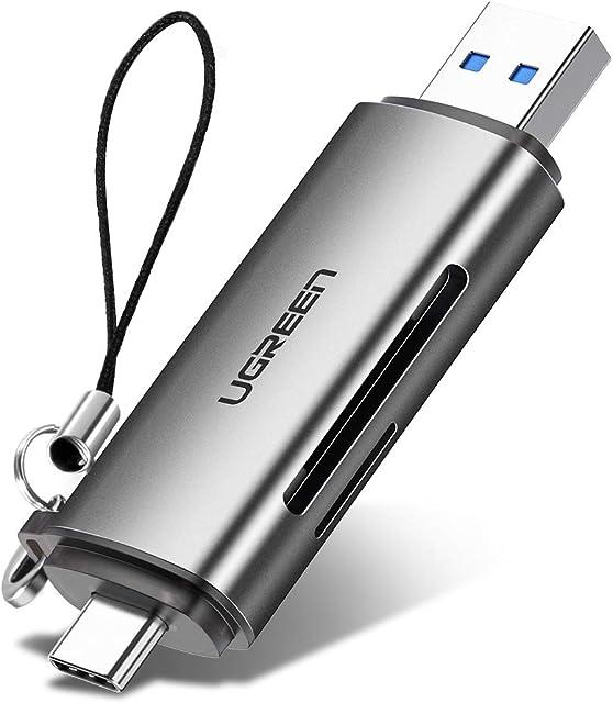UGREEN USB Tipo C Lector Tarjetas SD Micro SD 2 En 1 USB C Lector Tarjeta de Memoria USB 3.0 Lectura Simultánea SD Micro SD TF MMC para iPad Pro 2020 2018 Huawei P40 Xiaomi Redmi Note 8 Mi 10