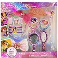 Townley Girl Disney Princess Hair Accessory Activity Set for Girls, Ages 3+ Makeup Hair Salon Toy Kit 20 Pieces Including Hair Brush, Mirror, Tiara Bows and More, for Parties, Sleepovers and Makeovers