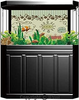 baihemiya sticker Aquarium Fish Tank Background,Doodle,Vintage Car Design Splashes Retro Inspired Decorative,Warm Taupe Sand Brown Light Green,Decor Paper Green Water Grass Aquatic Style Like Real,W2