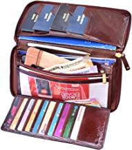 ABYS Genuine Leather Brown Unisex Business Card Holder||Passport Wallet||Passport Holder||Cheque Book Pouch with Zip Closure