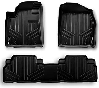 MAXLINER Floor Mats 2 Row Liner Set Black for 2017 Jeep Patriot with 1st Row Dual Driver Side Floor Hooks
