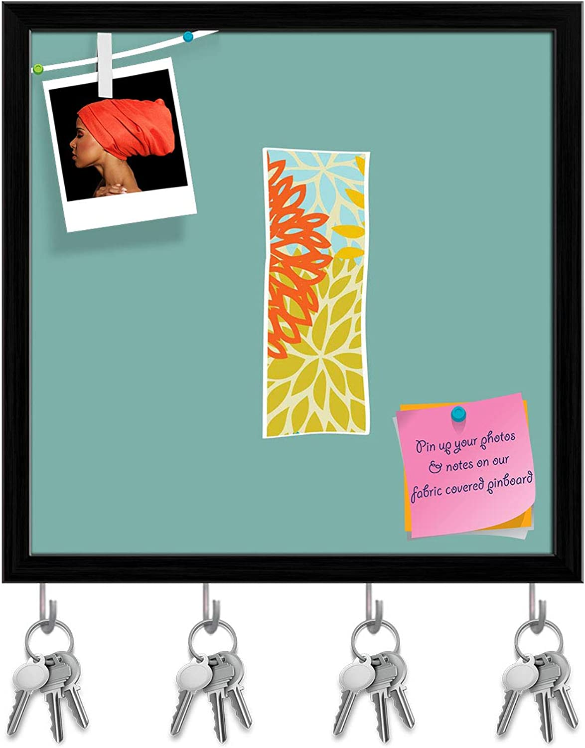 Artzfolio Floral Letter I Key Holder Hooks   Notice Pin Board   Black Frame 20 X 20Inch