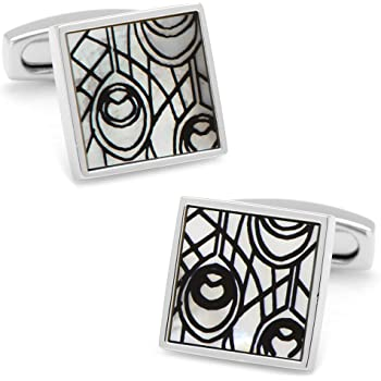 Simon Carter Mens Mother of Pearl Labyrinth Cufflinks Grey